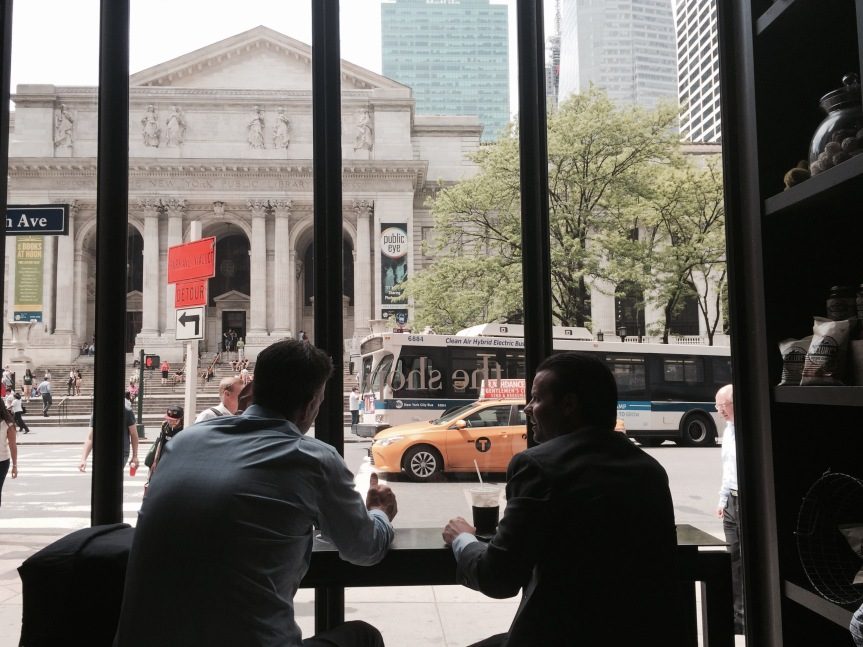 Looking out at the Public Library from The Shop on Fifth Avenue