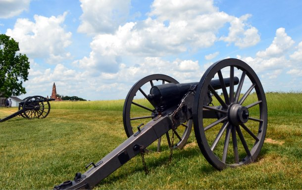 Howitzers placed in the position which they held during the Battle of First Bull Run at Manassas